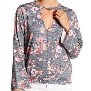 Gypsies & Moondust Floral Cutout Long Sleeve Shirt